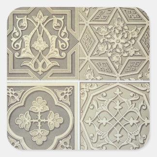 Arabic tile designs (colour litho) square sticker