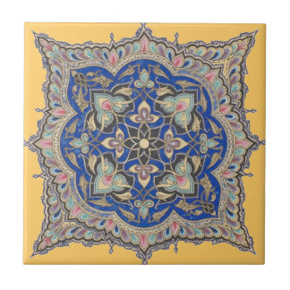 Arabic Tile Yellow Middle Eastern Blue Gold Design