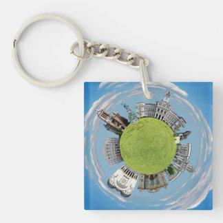 Arad city romania tiny little planet landmarks arc key ring