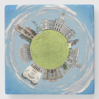 Arad city romania tiny little planet landmarks arc stone coaster