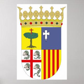 Aragón Coat of Arms Official Spain Symbol Heraldry Poster