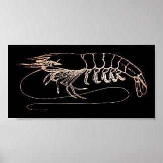 Aragosta Crab Sea Ocean Black Rose Gold Blush Poster