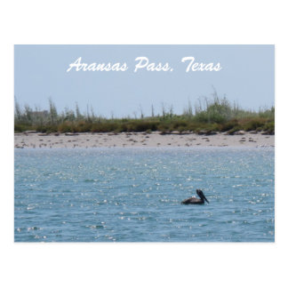 Aransas Pass Texas Coast Postcad with Pelican Postcard