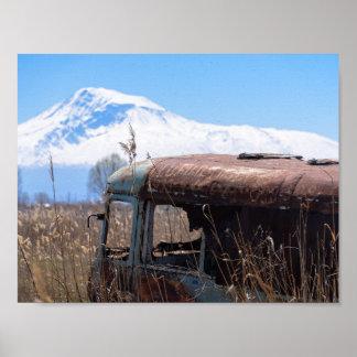 Ararat mountain and rusty bus poster