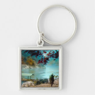 ARASHIYAMA TAKAGI Glass Magic Lantern Slide Silver-Colored Square Key Ring