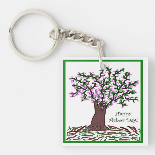 Arbor Day Artistic Tree Pink Blossoms Keychain