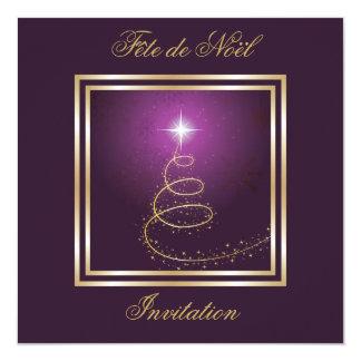 Arbre de Noël Abstrait pourpre invitation
