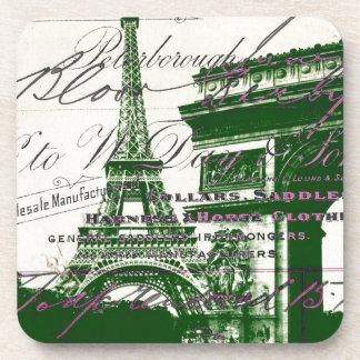 arc de triomphe vintage paris eiffel tower drink coaster