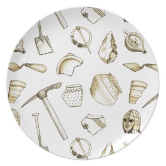 Archaeological Fragments Melamine Plate