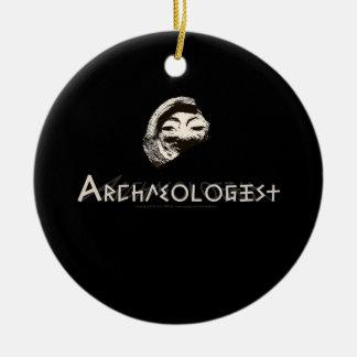 Archaeologist in Primitive Greek Letters Ceramic Ornament