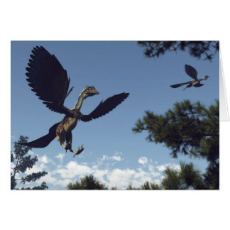 Archaeopteryx birds dinosaurs flying - 3D render Card