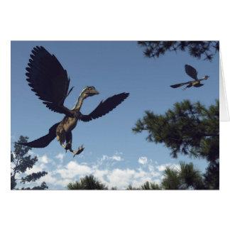 Archaeopteryx birds dinosaurs flying - 3D render Card
