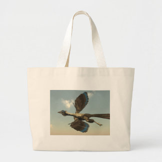 Archaeopteryx birds dinosaurs flying - 3D render Large Tote Bag