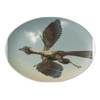 Archaeopteryx birds dinosaurs flying - 3D render Porcelain Serving Platter