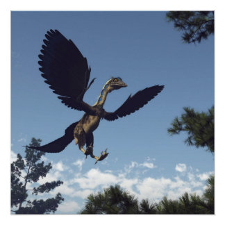 Archaeopteryx birds dinosaurs flying - 3D render Poster
