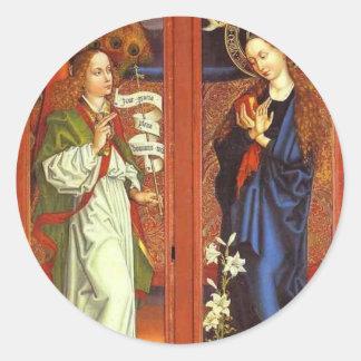 Archangel Gabriel - Annunciation - Schongauer Classic Round Sticker