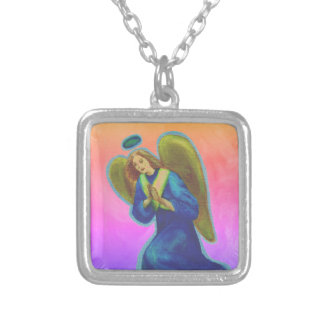 Archangel Gabriel Silver Plated Necklace - square