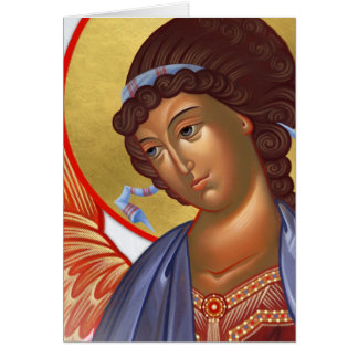 Archangel Gabriel with Christ and Mother of God Card