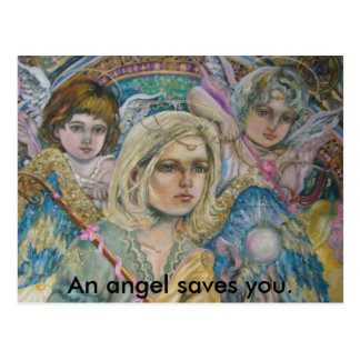 Archangel Mikhail and angels., An angel saves you. Postcard