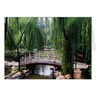 Arched Bridge in peaceful park Greeting Card