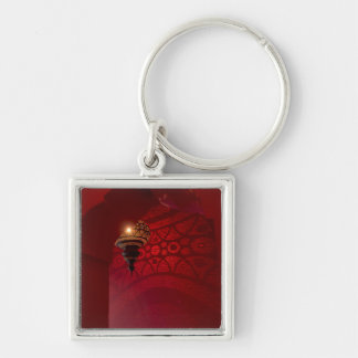 Arched entrance and illuminated lantern Silver-Colored square key ring