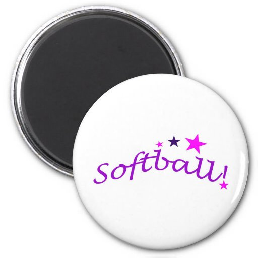Arched Softball with Stars Refrigerator Magnet