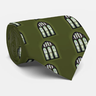 Arched Stained Glass Window Olive Green Tie