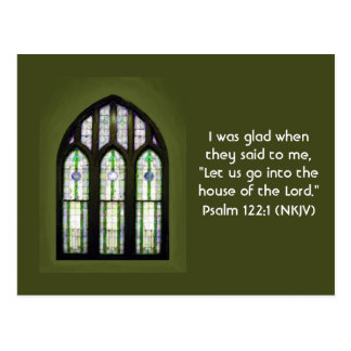 Arched Stained Glass Window on Olive Green Postcard