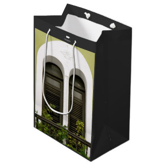 Arched Window at Old San Juan, Puerto Rico Green Medium Gift Bag