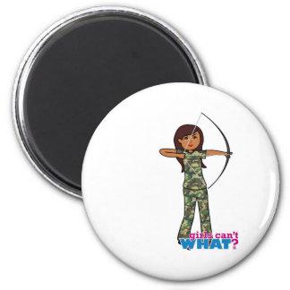 Archer Girl in Camo - Dark Refrigerator Magnets