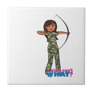 Archer Girl in Camo - Dark Ceramic Tiles