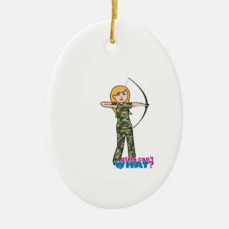 Archer Girl in Camo - Light Christmas Ornament