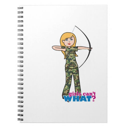Archer Girl in Camo - Light Spiral Note Book