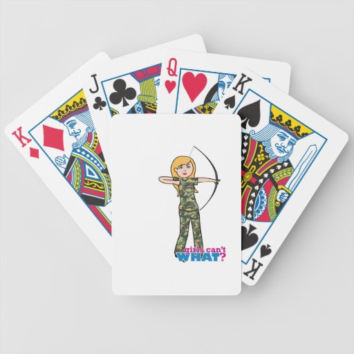 Archer Girl in Camo - Light Playing Cards