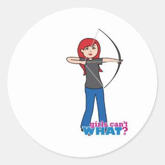 Archer - Light/Red Round Stickers
