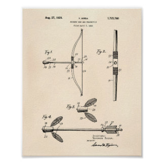 Archery Bow 1929 Patent Art Old Peper Poster