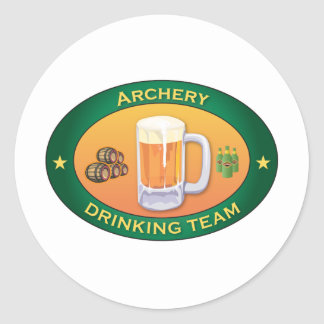 Archery Drinking Team Round Sticker