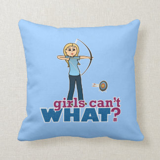 Archery Girl in Blue - Blonde Pillows