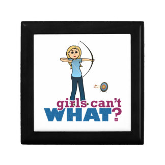Archery Girl in Blue - Blonde Trinket Box