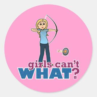 Archery Girl in Blue - Blonde Round Stickers