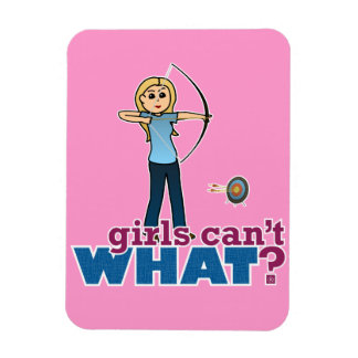 Archery Girl in Blue - Blonde Vinyl Magnet