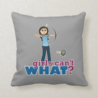 Archery Girl in Blue - Light Throw Pillow