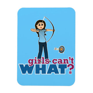 Archery Girl in Blue - Light Rectangle Magnets