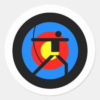 Archery Target and Archer Classic Round Sticker