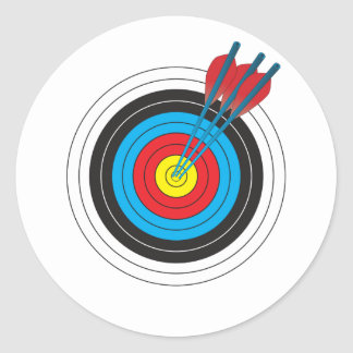 Archery Target with Arrows Round Sticker