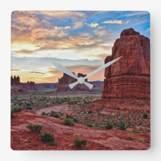 Arches at Sunset Square Wall Clock