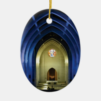 Arches in the blue church ceramic ornament