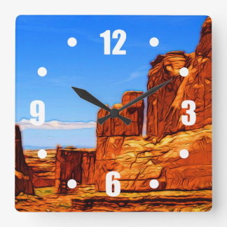 Arches National Park Rocks Square Wall Clock