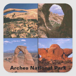 Arches National Park Sandstone Aches Collage Square Sticker