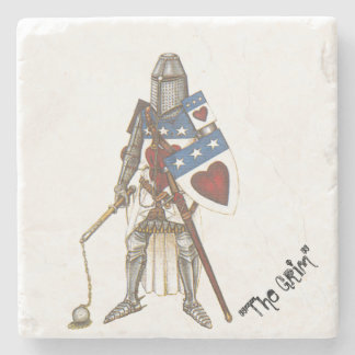 "Archibald ""The Grim"" Marble Tile Coaster Stone Beverage Coaster"